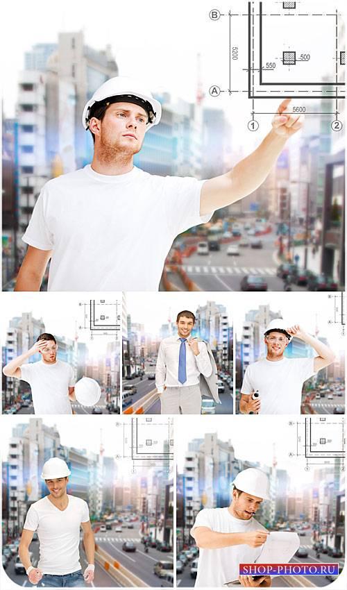 Архитектура, мужчина архитектор - сток фото