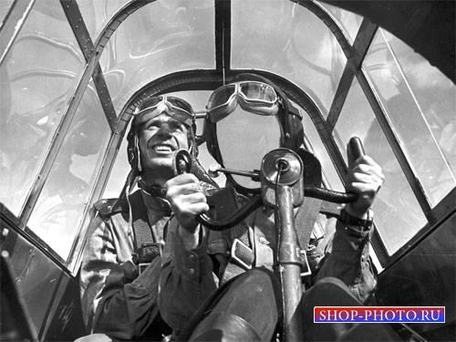 PSD шаблон для мужчин - Мужественный летчик в кабине самолета