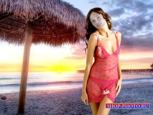 Шаблон женский - Поразительный закат на берегу моря