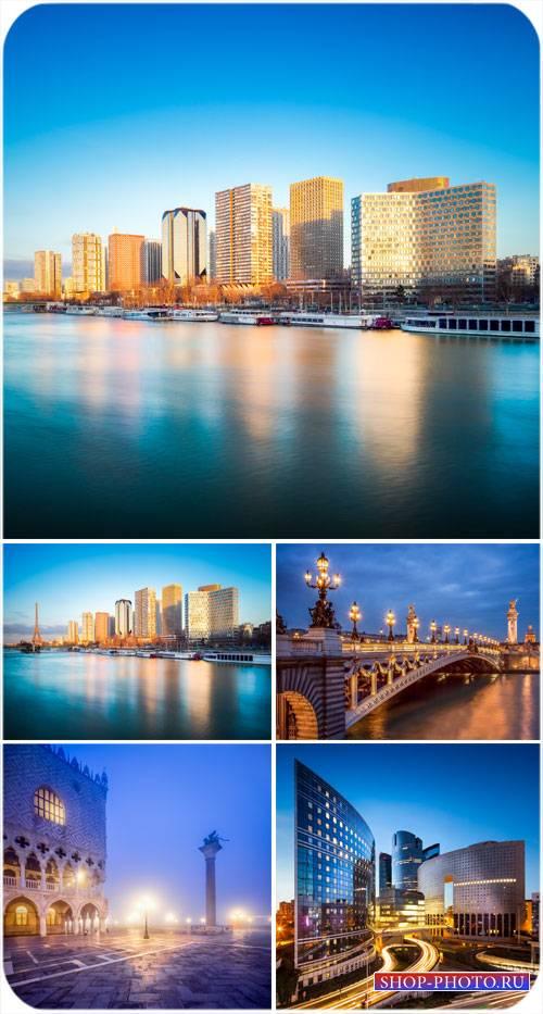 Архитектура, города и реки, ночной город - сток фото