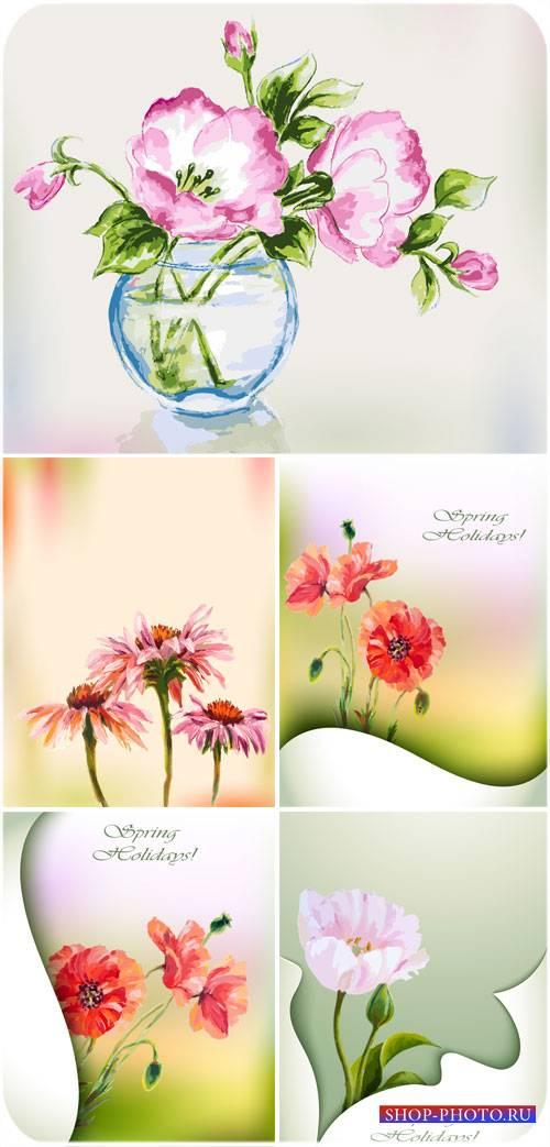 Векторные фоны с цветами, весна