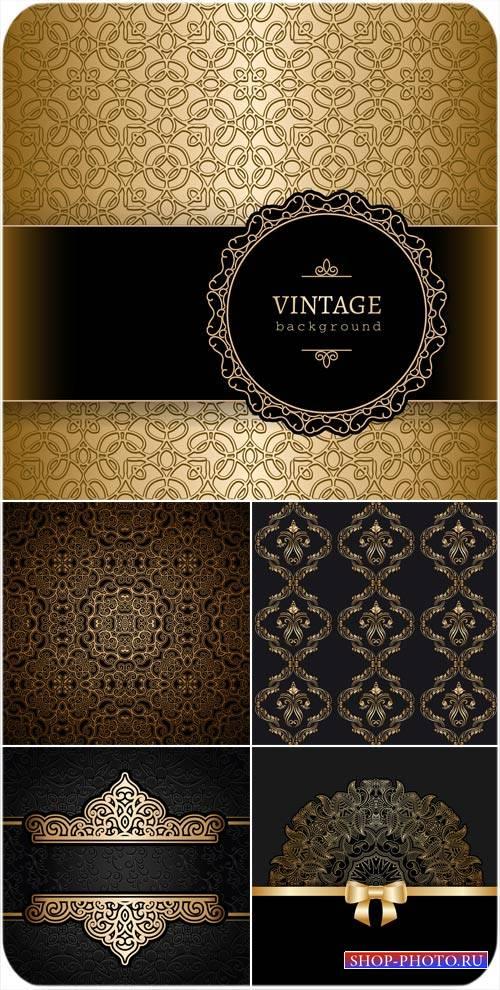 Векторные винтажные фоны с цветами и золотыми узорами