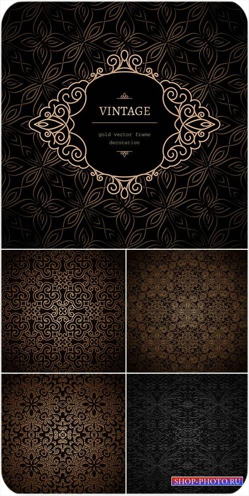 Векторные черные фоны с цветами и узорами, винтаж