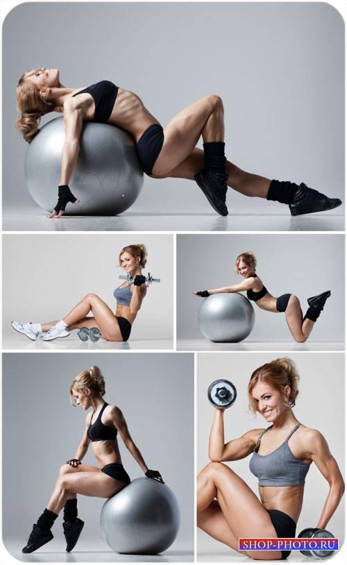 Фитнес, спортивная девушка - сток фото