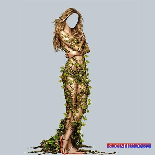 Женский шаблон - Мисс весна окутана листочками
