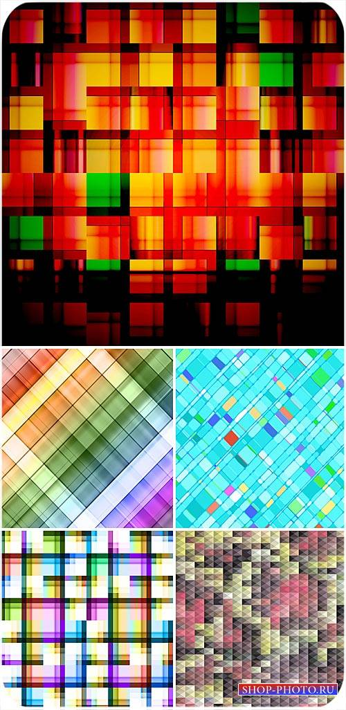 Разноцветные векторные фоны, абстракция, фоны в клеточку