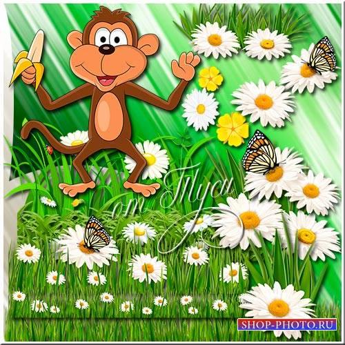 Клипарт для детей - Зелёная лужайка с ромашками и бабочками