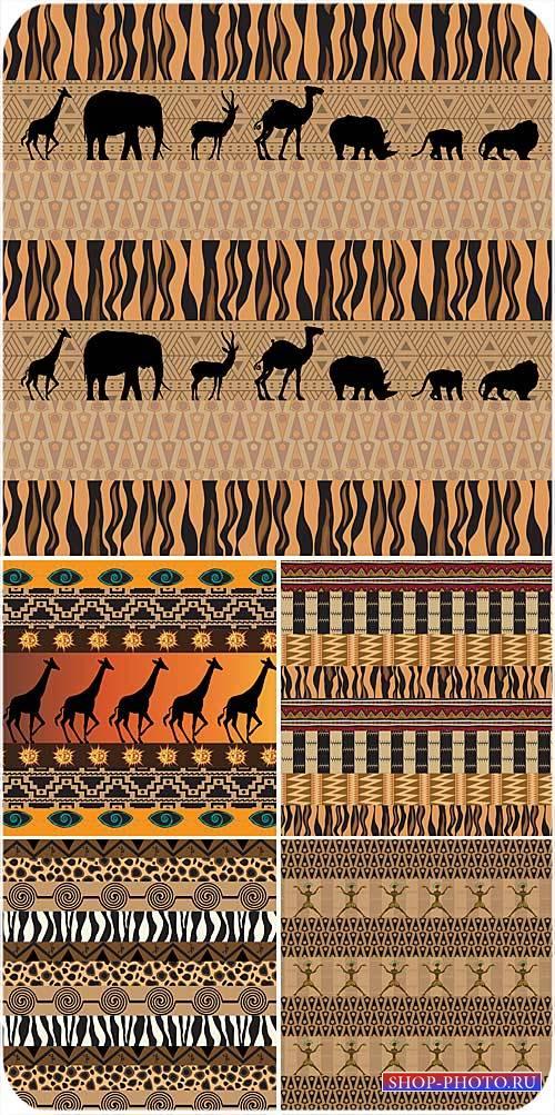 Африканские векторные фоны с животными и орнаментами