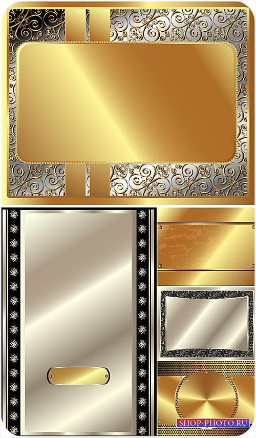 Золотые и серебристые векторные фоны с узорами