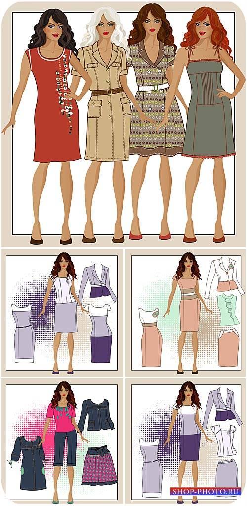 Модные девушки в векторе, женские платья