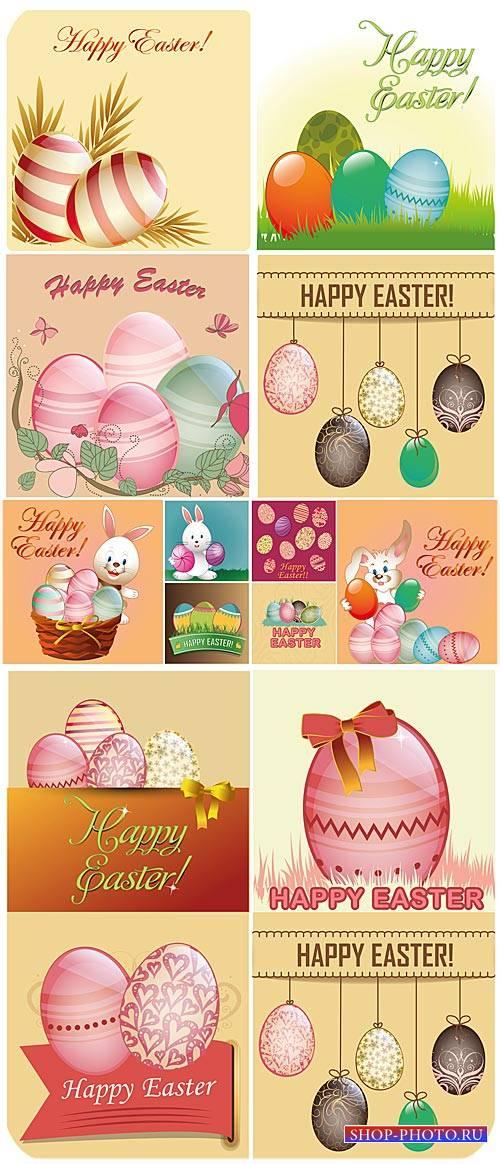 Пасха, пасхальные яйца, пасхальный кролик, вектор