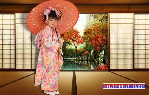 Шаблон  детский - Японская девочка