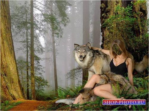 Шаблон для фотошопа - С волком в обнимку