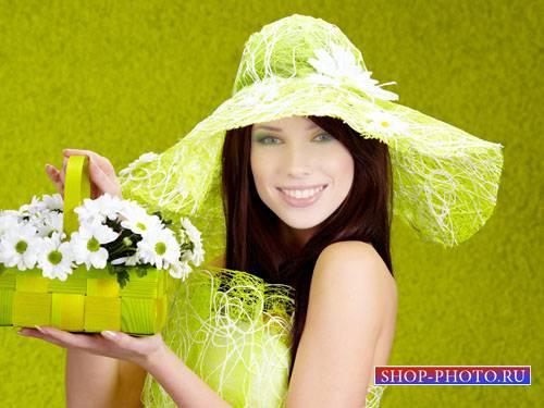 Шаблон для фотошоп - Милашка в салатовой шляпке