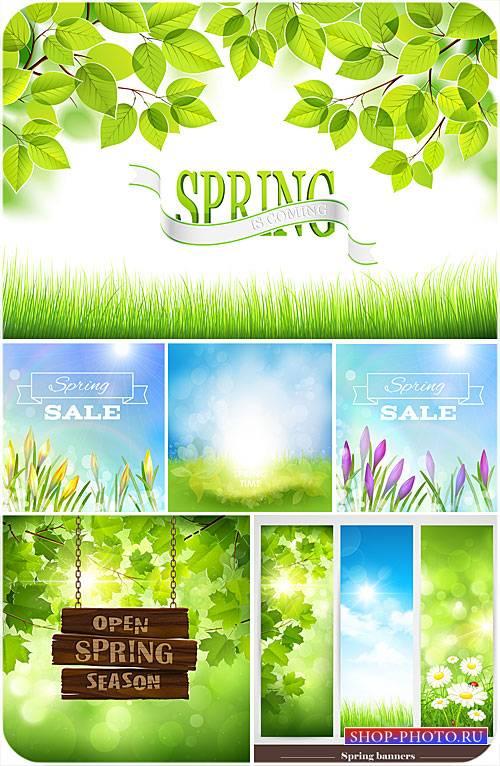 Весенние векторные фоны, зеленые листья и цветы
