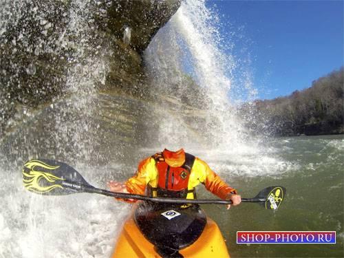 Спортсмен на байдарке под водопадом - шаблон для фотомонтажа