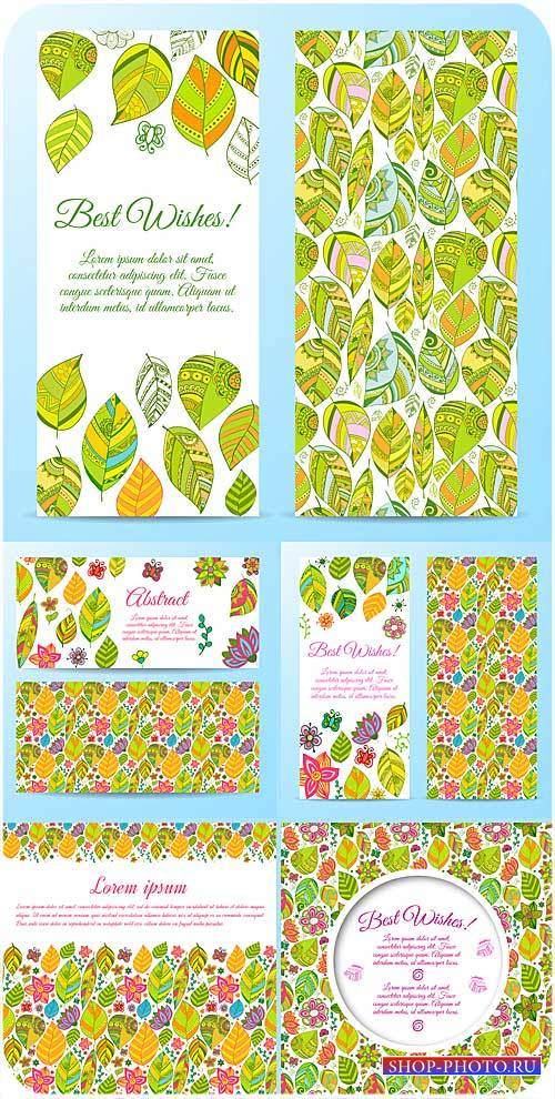 Векторные фоны с цветочками и листиками