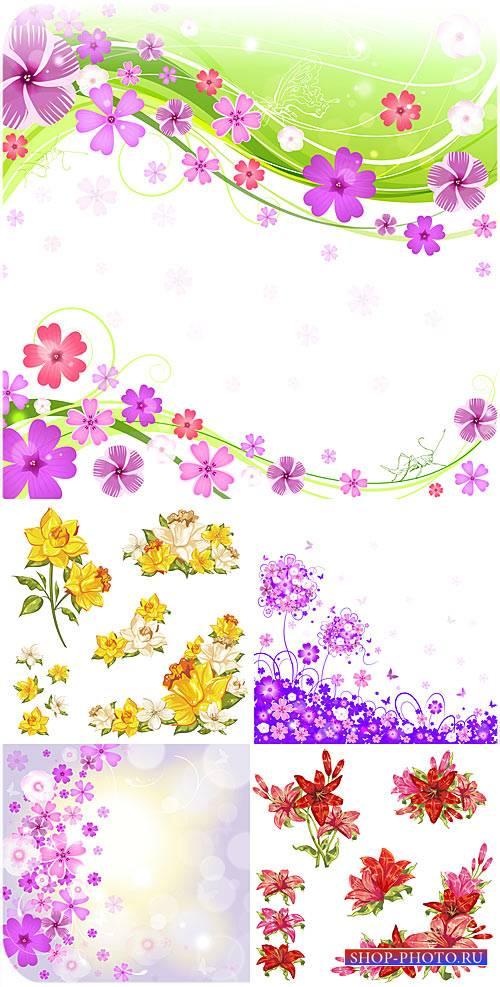 Цветы, векторные цветочные фоны