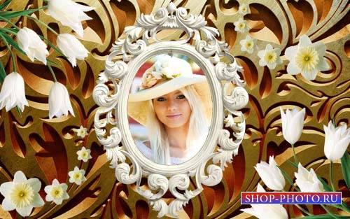 Рамка для фотошоп - Шикарный винтажный стиль с нежными цветами