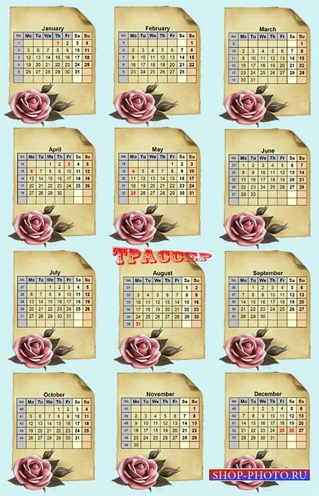 Календарная сетка на 2015 год – Свиток с алой розой
