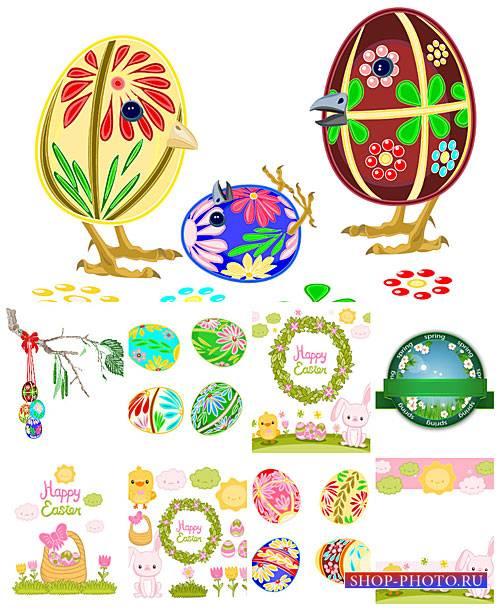Пасхальный вектор, пасхальные кролики и  яйца