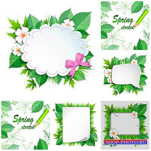 Весенние фоны, векторные открытки с цветами