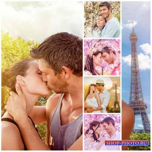 Влюбленная пара, цветущий сад, париж - сток фото