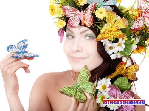 Шаблон для Photoshop - Милашка в нежном веночке с бабочками