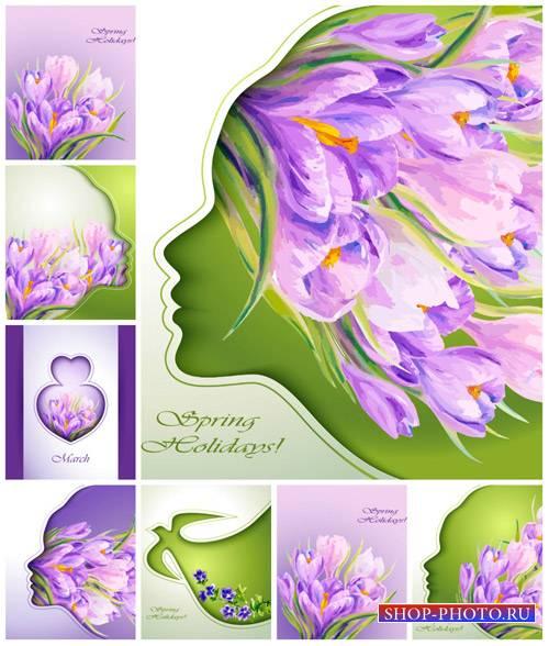 Весенние креативные фоны с сиреневыми цветами, крокусы