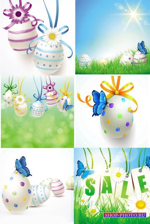 Пасхальный вектор, пасхальные яйца и ромашки