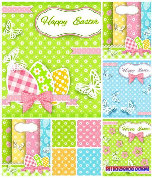 Пасхальный вектор, фоны с пасхальными яйцами и бабочками