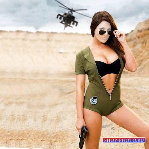 Шаблон для фото - Смелая девушка с пистолетом