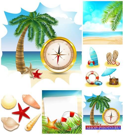 Морской вектор, пальмы и морские элементы