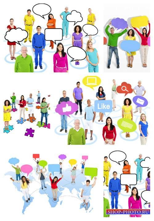 Люди разных стран мира с табличками - сток фото