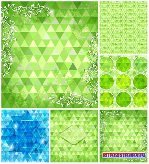 Зеленые векторные фоны, абстракция