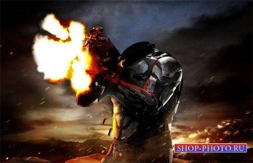 Шаблон для фото - Солдат в бою
