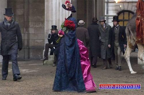 PSD шаблон для девушек - Девушка с розами и в наряде 19 века