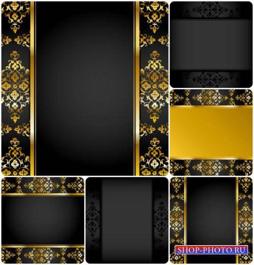 Черные векторные фоны с золотыми узорами / Black vector background with gol ...