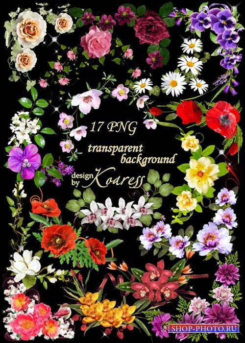 Цветочные уголки для дизайна в формате png - Весна, цветы
