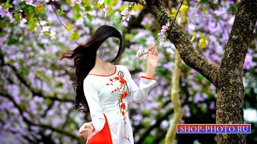 Шаблон для фотошоп - Симпатичная девушка и весеннее дерево