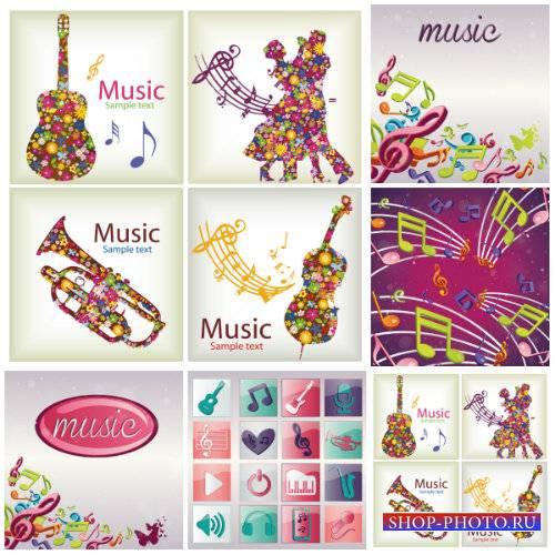 Музыкальные инструменты в векторе, фоны, логотипы