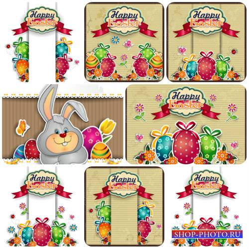 Пасха, пасхальные яйца, кролик, весенний вектор / Easter, spring vector