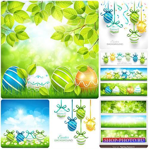 Пасха, весенние фоны / Easter, spring background with Easter eggs, vector