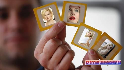 Рамка для фотографии - 4 ваших фото в мужских руках