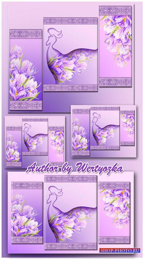 Модульная картина - Девушка весна, крокусы
