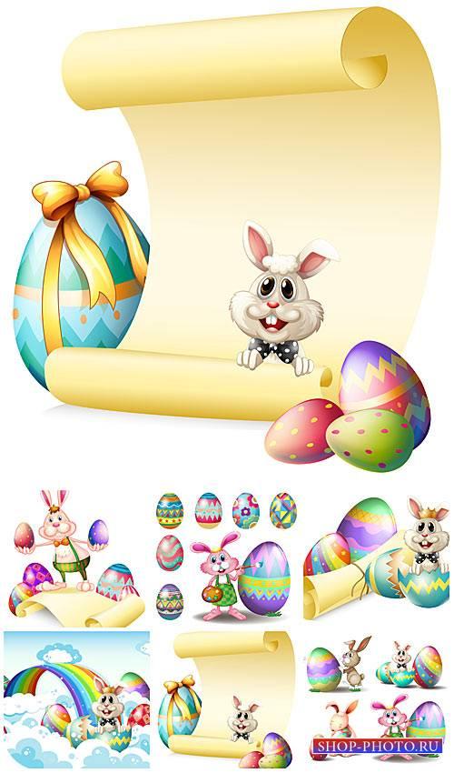 Забавный пасхальный кролик в векторе / Funny Easter bunny vector