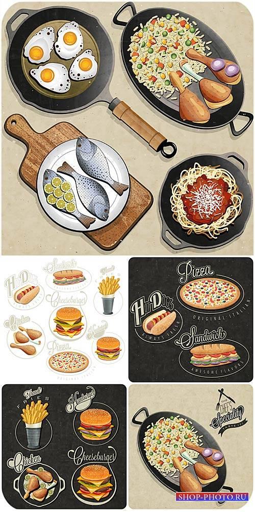 Фастфуд, рыба, мясо, еда в векторе / Fast food, fish, meat, food vector