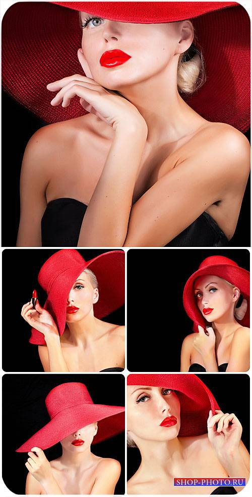 Девушка в красной шляпе / Girl in a red hat - Stock Photo