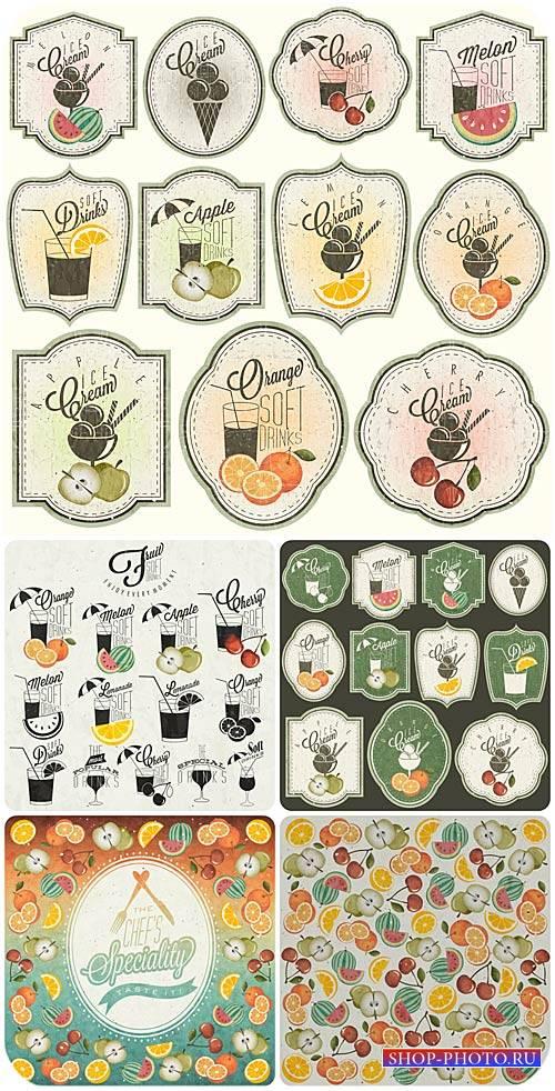 Продуктовые этикетки в винтажном стиле, напитки, мороженое, фрукты / Food l ...