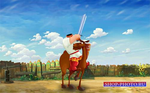 Шаблон для детей - Богатырь с мечом на умном коне